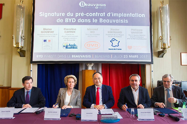 Isbrand Ho, Managing Director of BYD Europe, accompanied by Xavier Bertrand, President of the Hauts-de-France Region; Caroline Cayeux, President of the Beauvais Urban Community; Christian Sandowski, Mayor of Allonne and Business Development Delegate to the Beauvais Urban Community; Philippe Vasseur, President of Nord France Invest and Special Commissioner for the Industrial Redevelopment of Hauts-de-France; and Didier Martin, Prefect of the Oise departement