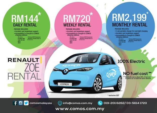 COMOS Rolls Out Electric Car Rental Program in Klang Valley monthly rentalCOMOS Rolls Out Electric Car Rental Program in Klang Valley daily weekly monthly rental Renault Zoe