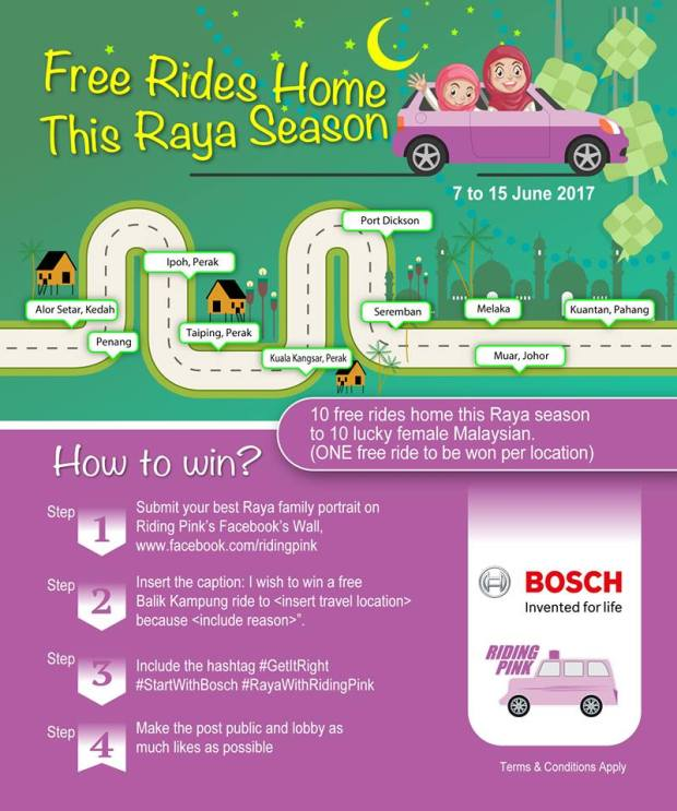 Riding Pink Bosch Raya Free Ride Contest how to female women ride sharing