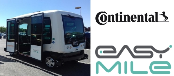 Continental Takes Stake in EasyMile Pushing Ahead the Development of driverless mobility autonomous electric vehicle shuttle EZ10 self driving level 4