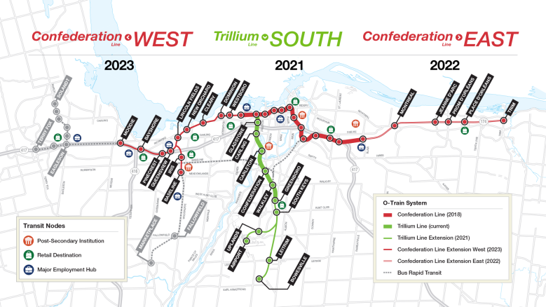 Canada Ottawa gets Additional Funding for Light Rail Transit LRT Stage 2 Extension West South East