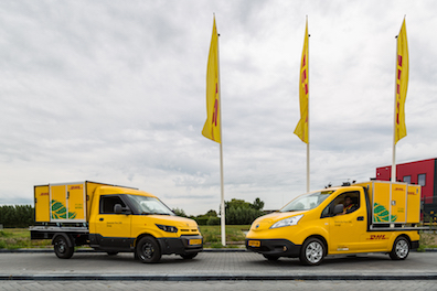 DHL expands City Hub concept in the Netherlands with customized electric vehicles Streetscooter Nissan sustainable urban mobility logistics last mile delivery