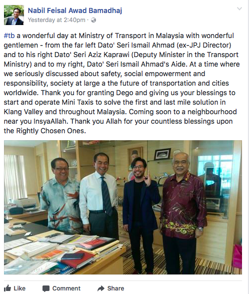 Malaysian Bike Taxi Dego Ride-hailing Set to Return CEO Nabil Feisal facebook
