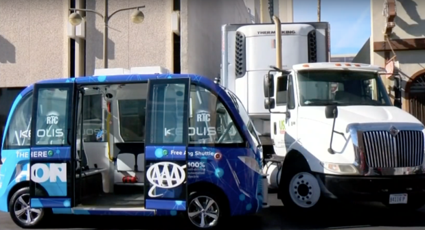 Can Human-Driven Vehicles and Autonomous Vehicles Share The Road self driving electric shuttle Navya Keolis accident with a truck in Las Vegas