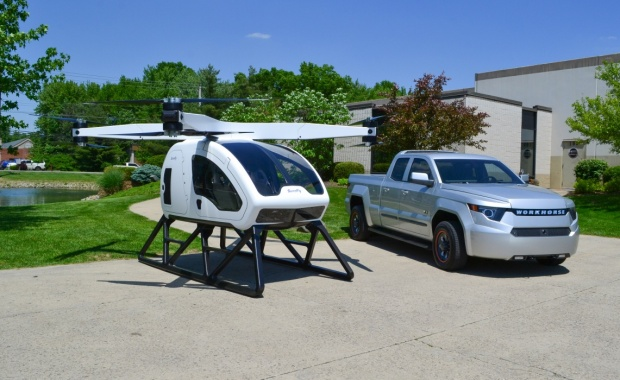 Workhorse to Showcase World's First Personal Hybrid Electric Octocopter urban air mobility W-15 EV pickup made in America